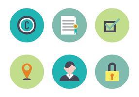 Bunte Set von Icons im Zusammenhang mit Patenten vektor