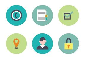Färgrik uppsättning ikoner relaterade till patent
