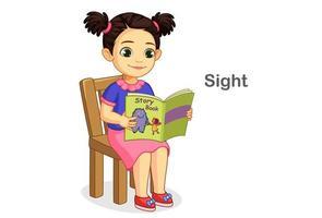 Mädchen liest Buch, das Sehsinn zeigt