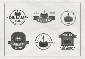 Pelita oljelampa gammal vintage etikett vektor