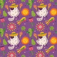 süße Chinchillas im sombrero nahtlosen Muster vektor