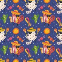 Mexiko Urlaub niedlichen Chinchillas nahtloses Muster vektor