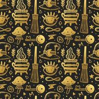 Goldenes Halloween nahtloses Muster vektor