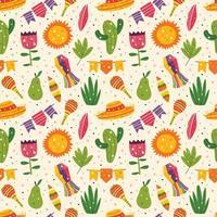 nahtloses Muster des niedlichen Dekors des mexikanischen Feiertags vektor