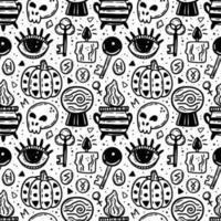 nahtloses Muster für Halloween mit schwarzer Tinte