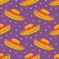 lite rolig söt tecknad sombrero mönster vektor