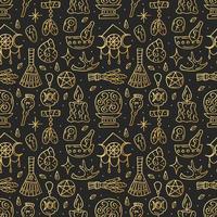 Hexerei goldenes Gekritzelhand gezeichnetes nahtloses Muster