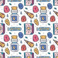 häxkonst söt doodle handritad sömlösa mönster vektor