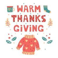 varm tacksägelse handritad bokstäver, element