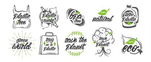 samling av naturligt, ingen plast, rädda planetens logotyper vektor