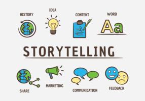 Geschichtenerzählen von Vektor-Icons vektor