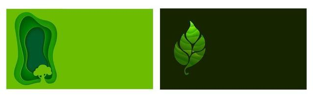 uppsättning origami-ekologi och naturliga flygblad eller affischer