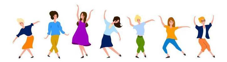stor uppsättning kvinnliga dansare som isoleras på vitt
