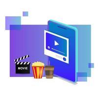 Design von isometrischen Streaming-Online-Filmen vektor