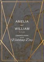 bröllopskort med marmorstruktur med geometriska guldlinjer vektor