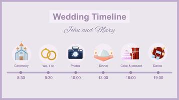 Hochzeitszeitleiste mit Symbolen vektor