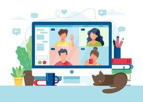 Computer mit einer Gruppe von Personen, die eine Videokonferenz durchführen