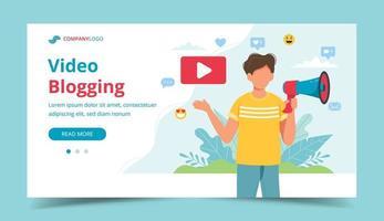 videoblogger gör meddelande med megafon vektor