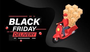 Black Friday Online-Roller-Lieferkonzept vektor