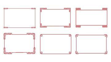 kinesisk röd rektangelramuppsättning vektor