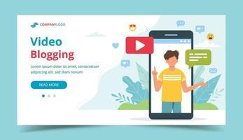 videoblogger på smartphone-skärmen vektor