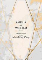 bröllopsinbjudan med marmorstruktur och guldlinjer vektor