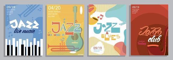 Reihe von Jazzplakaten mit Typografie, Musikinstrumenten vektor