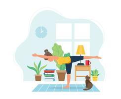 Frau, die Yoga im gemütlichen modernen Innenraum tut
