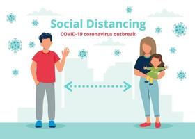 socialt distanseringskoncept med människor på avstånd vektor