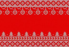 weißes und rotes Strickmuster mit hängenden Ornamenten