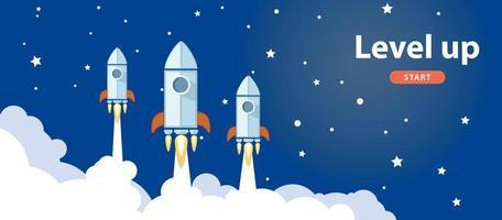 Raketen im Weltraumbanner ausgleichen