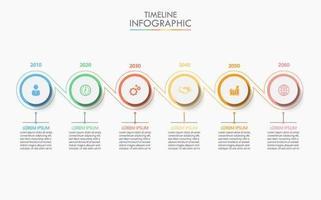 6 Schritt verbundene Kreis Timeline Infografik