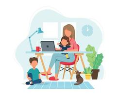kvinna som arbetar hemifrån med barn