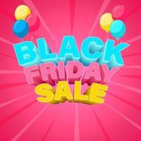 färgglada svart fredag banner med ballonger vektor