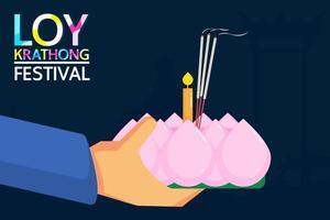 Loy Krathong Festival Design mit Händen Kerze halten