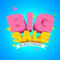 svart fredag stor försäljning design på blå lutning vektor