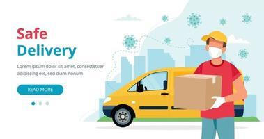 maskerad leveransman med låda och gult fordon