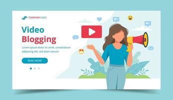 kvinnlig videoblogger som meddelar med megafon vektor