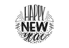 Glückliche Neujahrsbeschriftung vektor