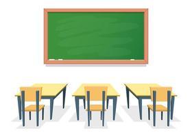 klassrum med skrivbord