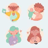 Cartoon-Stil Schwangerschaft und Mutterschaft Sammlung vektor
