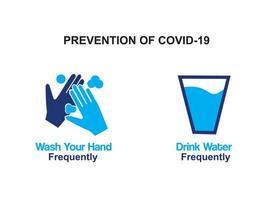 Prävention von Covid-19-Schritte-Poster vektor
