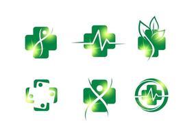 grönt kors hälsa logotyp teckenuppsättning vektor