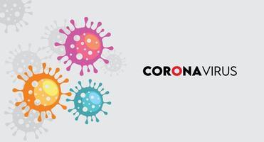 Coronavirus-Symbole in lila, orange und blau auf grau