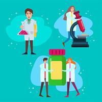 Charakterkonzept verschiedener Wissenschaftler im flachen Stil