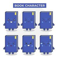 süße Buchfiguren mit verschiedenen Ausdrücken