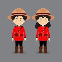 parkaraktärer som bär kanadensisk nationell klänning vektor