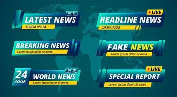 tv-nyhetsrubrik lägre tredje uppsättning vektor