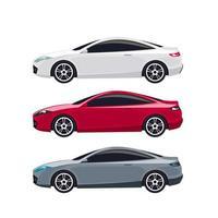 modernes weißes, rotes und graues Coupé-Autoset