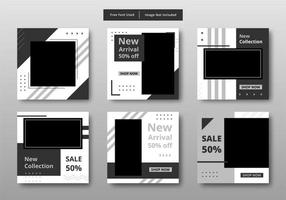 geometriska svartvita sociala medier försäljning post set vektor